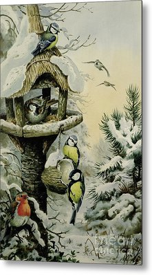 Winter Bird Table With Blue Tits Metal Print by Carl Donner