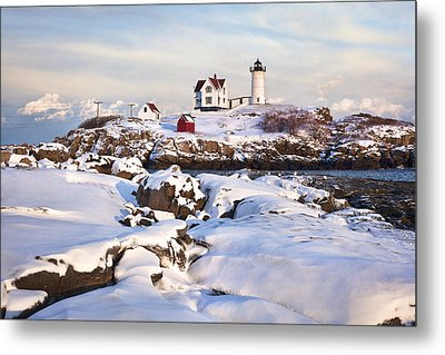 Winter Evening At Nubble Lighthouse Metal Print by Eric Gendron