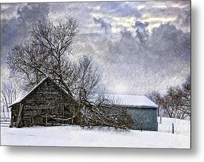 Winter Farm Metal Print by Steve Harrington