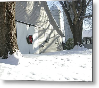 Winter Holiday At The Farm. Metal Print by Robert Ponzoni