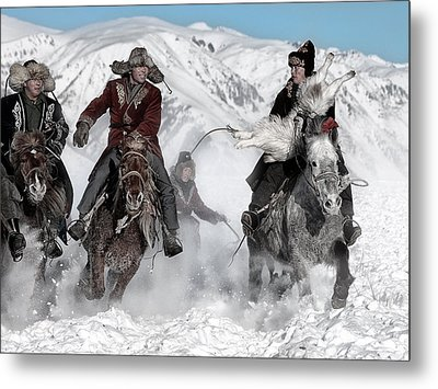 Winter Horse Race Metal Print by Bj Yang