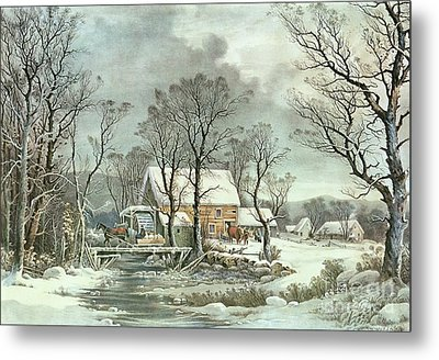 Winter In The Country - The Old Grist Mill Metal Print by Currier and Ives