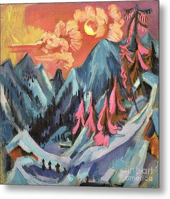 Winter Landscape In Moonlight Metal Print by Ernst Ludwig Kirchner