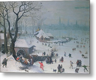 Winter Landscape Metal Print by Lucas Van Valckenborch