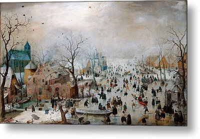 Winter Landscape With Skaters Metal Print by Celestial Images