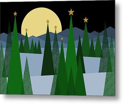 Winter Night Moon Metal Print by Val Arie