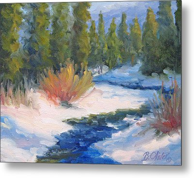 Winter On Gore Creek Metal Print by Bunny Oliver