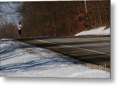 Winter Run Metal Print by Linda Knorr Shafer