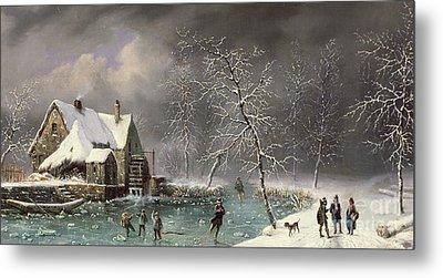 Winter Scene Metal Print by Louis Claude Mallebranche