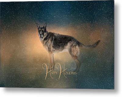 Winter Shepherd - Happy Holidays Metal Print by Jai Johnson