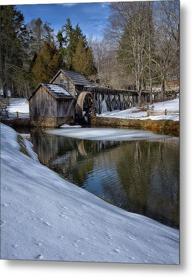 Winter Snow At Mabry Mill Metal Print by Steve Hurt