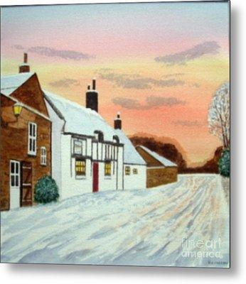 Winter Sunset At 'the Wheatsheaf' Metal Print by Peter Farrow