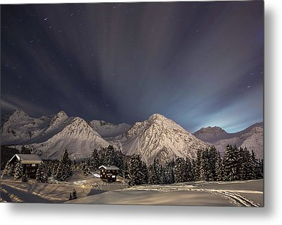 Winterevening In The Mountains Metal Print by Ralf Eisenhut