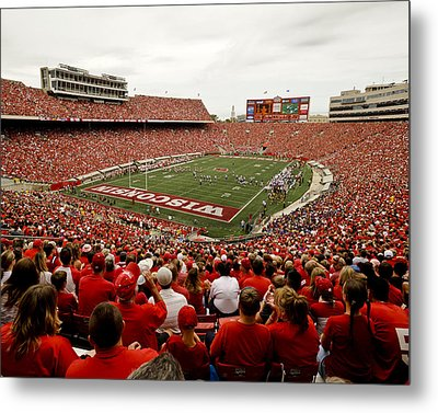 Wisconsin Badgers Play In Camp Randall Stadium Metal Print by Relpay Photos
