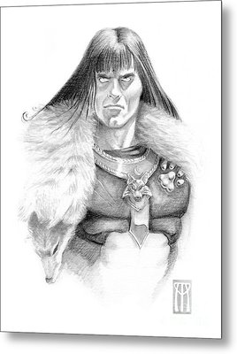 Wolf Barbarian Metal Print by Melissa A Benson