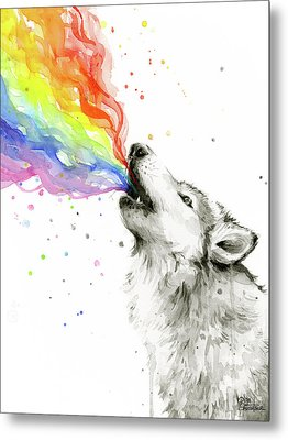 Wolf Rainbow Watercolor Metal Print by Olga Shvartsur
