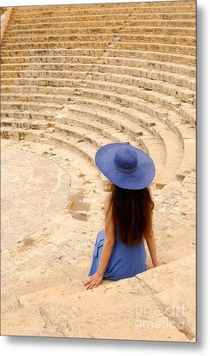 Woman At Greco-roman Theatre At Kourion Archaeological Site In C Metal Print by Oleksiy Maksymenko
