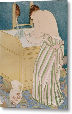 Woman Bathing Metal Print by Mary Stevenson Cassatt