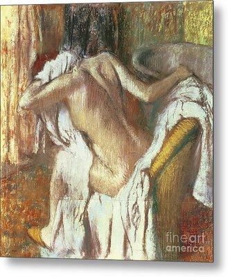 Woman Drying Herself Metal Print by Edgar Degas