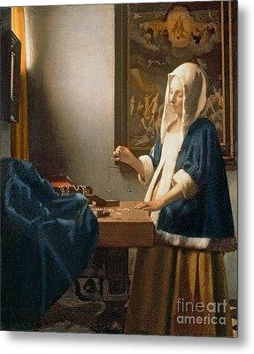Woman Holding A Balance Metal Print by Jan Vermeer