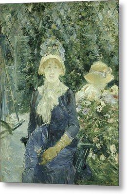 Woman In A Garden Metal Print by Berthe Morisot