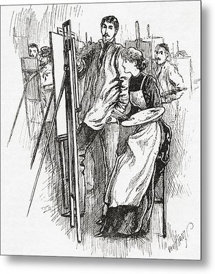 Woman Learning To Paint In 19th Century Metal Print by Vintage Design Pics