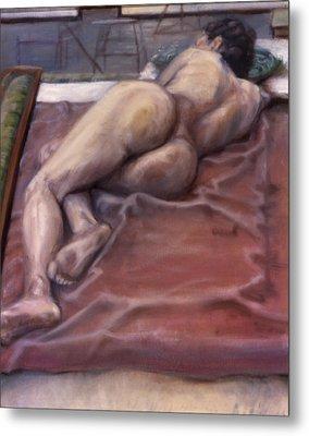 Woman On Blanket Metal Print by John Clum