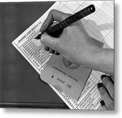 Woman Planning Monthly Budget Metal Print by Underwood Archives