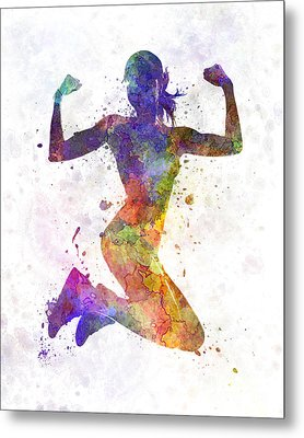 Woman Runner Jogger Jumping Powerful Metal Print by Pablo Romero