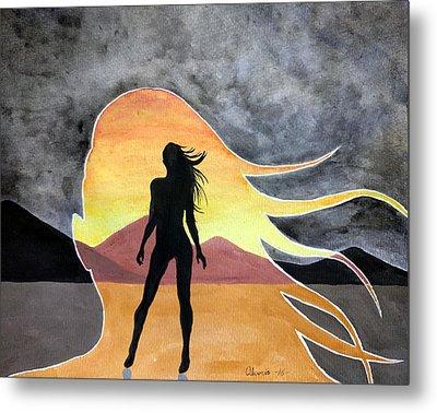 Woman Silhouette Metal Print by Edwin Alverio