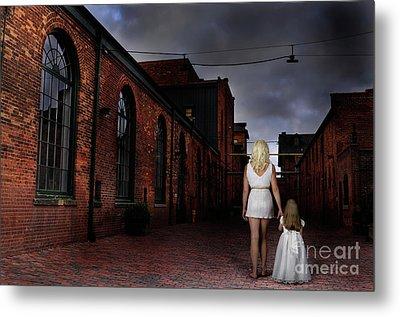 Woman Walking Away With A Child Metal Print by Oleksiy Maksymenko