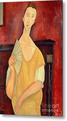 Woman With A Fan Metal Print by Amedeo Modigliani