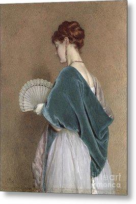 Woman With A Fan Metal Print by John Dawson Watson