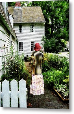 Woman With Striped Jacket And Flowered Skirt Metal Print by Susan Savad
