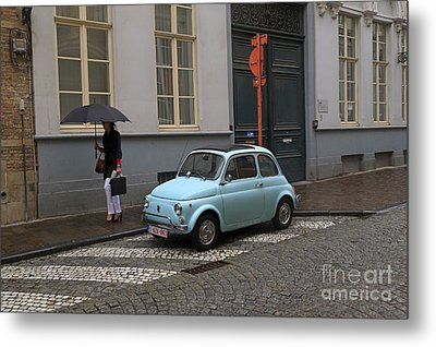 Woman With Umbrella Metal Print by Louise Heusinkveld