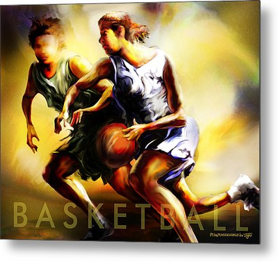 Women In Sports - Basketball Metal Print by Mike Massengale