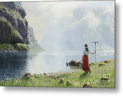 Women On River Bank Metal Print by Hans Andreas Dahl