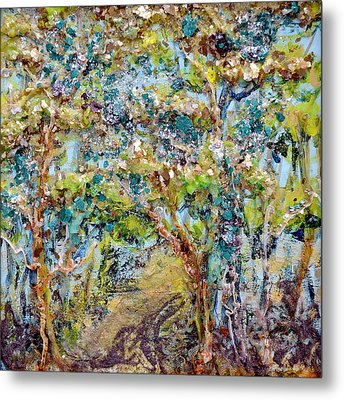 Wood Lights Metal Print by Regina Valluzzi