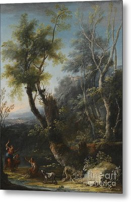 Wooded Landscape With Figures And A Dog Metal Print by Michele Pagano