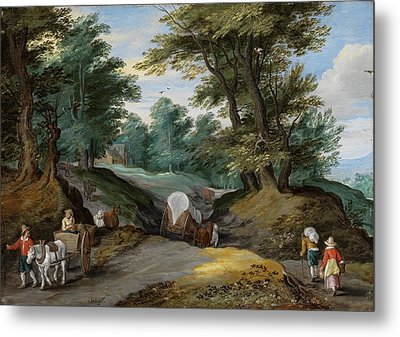 Wooded Landscape With Horses Carts And To The Market Attracting Farmers Metal Print by Jan Brueghel the Younger