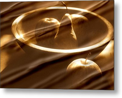 Wooden Bowl With Fruit Metal Print by Toni Hopper