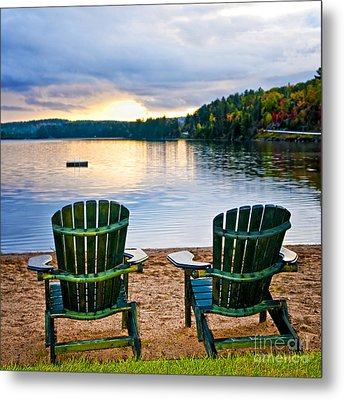 Wooden Chairs At Sunset On Beach Metal Print by Elena Elisseeva
