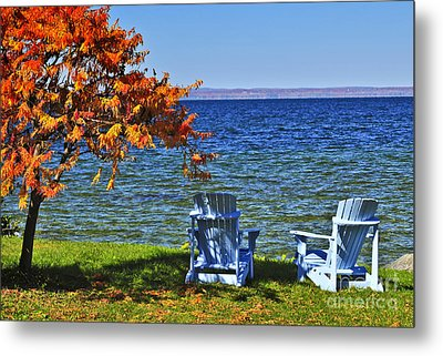 Wooden Chairs On Autumn Lake Metal Print by Elena Elisseeva