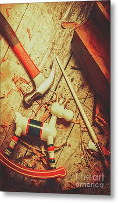 Wooden Model Toy Reindeer. Christmas Craft Metal Print by Jorgo Photography - Wall Art Gallery