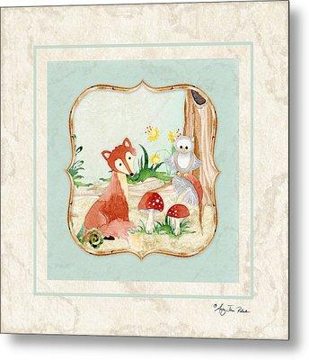 Woodland Fairy Tale - Fox Owl Mushroom Forest Metal Print by Audrey Jeanne Roberts