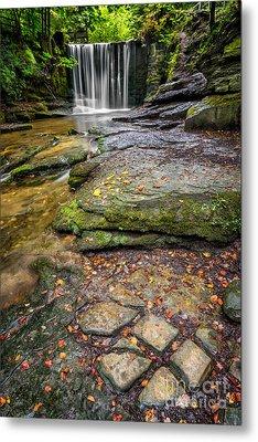 Woodland Waterfall Metal Print by Adrian Evans