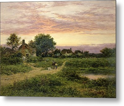 Worcestershire Cottages Metal Print by Benjamin William Leader