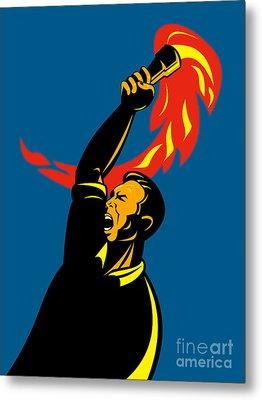 Worker With Torch Metal Print by Aloysius Patrimonio