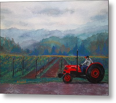 Working The Vineyard Metal Print by Becky Chappell