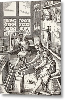 Workshop Of A Bookbinder, After A 16th Metal Print by Vintage Design Pics